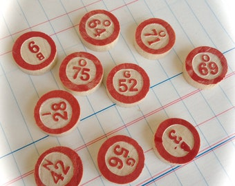 Vintage Wood Bingo Number Markers - Pack of 10