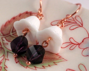 White Trumpet Flower Earrings with Purple Swarovski Copper Wires
