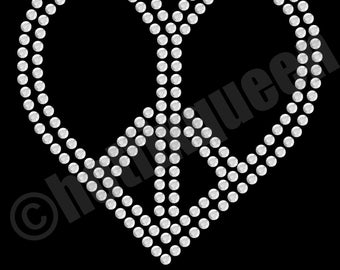 Peace Heart Rhinestone Transfer (3C15)