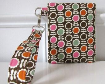 Floral Print Wristlet Zipper Pouch  Mini Case