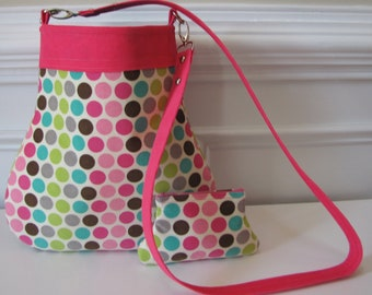 Polkadot Crossbody Long Strap Bag With Matching Curvy Coin Pouch