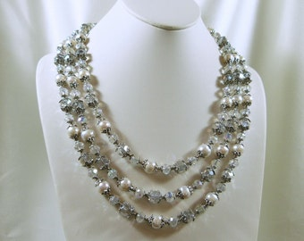 Royal Renaissance 3 Strand Pearl and Crystal Necklace