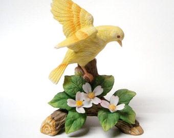 1960's Yellow Bird Figurine Branches Flowers Vintage