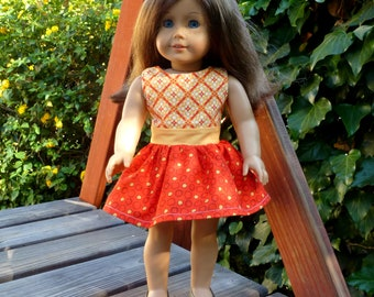 "Doll Dress - American Girl or Similar 18"" Doll - Pizza Party (#140)"