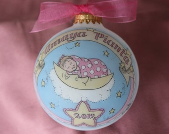 Baby Girl's Deluxe Keepsake Ornament Original Handpainted Personalized Ornament with Birth Information, WITH DISPLAY STAND