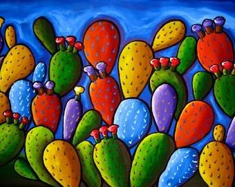 Prickly Pear Cactus Rectangular Fun Whimsical Folk Art Colorful Giclee PRINT