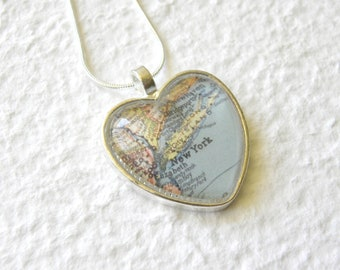 New York City Map Necklace featuring Long Island and Yonkers