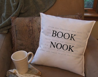 book lover graphic throw pillow cover, decorative throw pillow cover