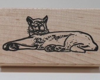 California Mountin Lion Siesta rubber stamp