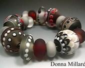HANDMADE LAMPWORK Glass Beads SET Donna Millard sra lamp work red black grey white fall autumn