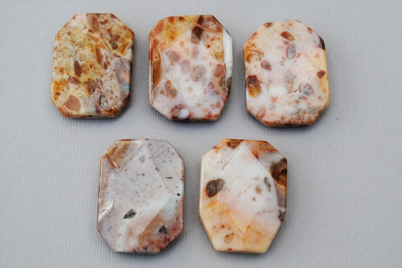 Crazy Lace Agate Large Pendant Beads - Beachy Stones - Agate Stones (Five)