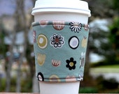 FREE SHIPPING UPGRADE with minimum -  Fabric coffee cozy / cup sleeve / coffee sleeve  -- Muted fun things on sage