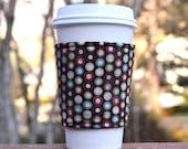 Fabric coffee cozy / cup sleeve / coffee sleeve / coffee cup holder -- Gingerbread dots