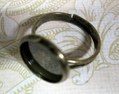 5 brass 12mm bezel ring bases, ring blank settings for resin and cabochons