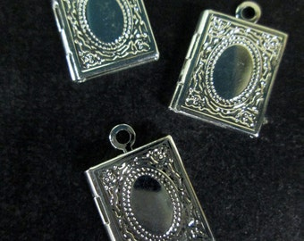 4 mini book locket charms, silver plated,  petite 11x14mm