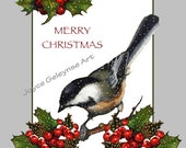 Christmas, Chickadee, Holly, Berries, Snow: Print Yourself, Instant Download