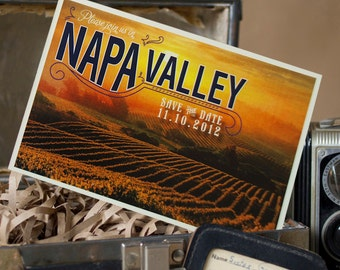 Vintage Travel Postcard Save the Date (Napa Valley, California) - Design Fee