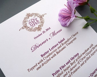 Deluxe Monogram Wedding Reception Dinner Menus