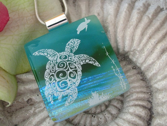 Reserved for AR Sea Turtle Necklace - Dichroic Fused Glass Jewelry - Fused Glass Jewelry - Sea Life Necklace 090312p119