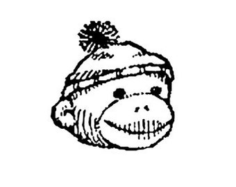 SUPER CLEARANCE Cute Sock Monkey Head Rubber Stamp Large RIGHT