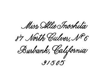 Custom Calligraphy Return address rubber stamp Copperplate