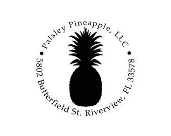 Tropical Pineapple custom rubber stamp return address