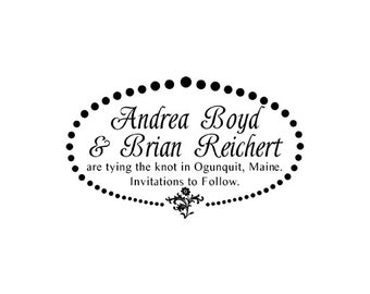 Wedding Save the Date tying the knot custom Rubber Stamp