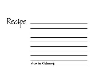 RETIRED Blank Recipe Card Rubber Stamp
