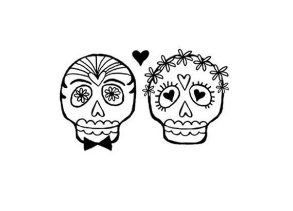 Wedding Bride and Groom Sugar skull rubber stamp bride groom