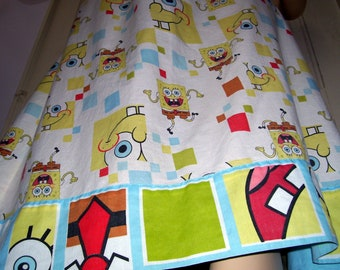 Sponge Bob Dress Apron Sundress M L XL Green Upcycled Recycled Hippie Adult Geek Dress