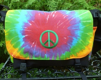 Peace sign Messenger Bag, Diaper Bag, Project Bag, faux tie dye with peace sign applique, Lynx Deluxe
