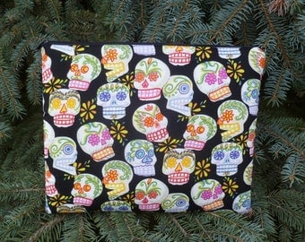Sugar Skull iPad mini case, optional shoulder strap or wristlet, Day of the Dead, The Spruce