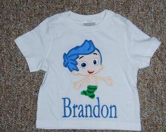 Bubble Fish Mermaid  M2M Applique and Monogrammed  Shirt Gil  custom Boutique size 12m 2 3 4 5 6 7 8 9 10