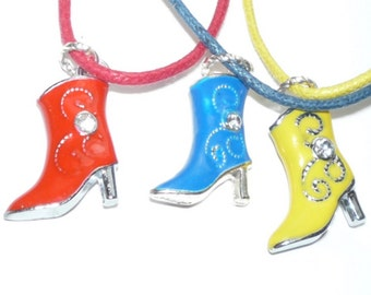 Cowboy Boot Necklaces   Red  Yellow Blue  western fashion boho rockabily READY TO SHIP