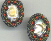 Beadwoven Earrings. Dome Mother of Pearl. Genuine Coral Beads. Beaded Shell . Nested Pearl . OOAK - Mermaid Garden by enchantedbeads on Etsy