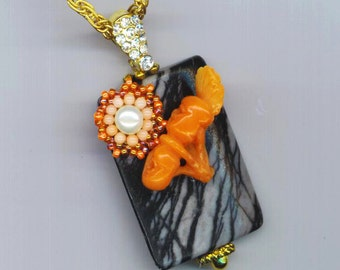 Jasper Pendant . Beaded Coral Flower . Botanic Jewelry . Floral Pendant . German Glass - Love Potion by enchantedbeads on Etsy