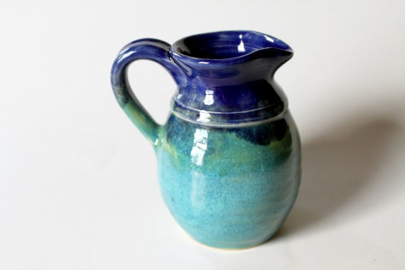 Wee Cobalt Blue and Turquoise Ceramic Creamer