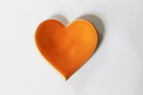 Clay Heart Ring Dish - Tangerine