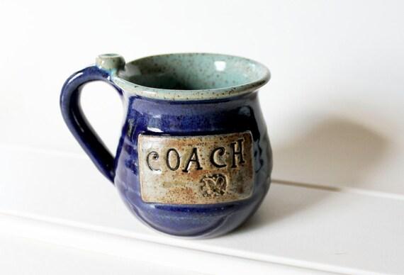 Engraved Coach Mug ready to ship  Holds 15 ounces wheel thrown handmade