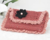 Lace Business, Credit Card Wallet for Women, Mauve with Black Applique Crochet Flower