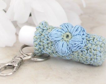 Lip Balm Key Chain Holder, Sage Green & Country Blue Crochet Key Chain, Lipstick Accessory Case
