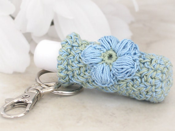 Plush Lip Balm Holder, Keychain Key Holder, Sage Green & Country Blue Keychain with Crochet Country Blue Puff Flower