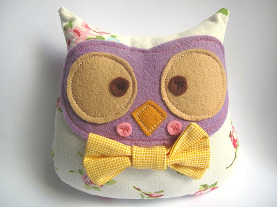 Owl plush toy with bow tie
