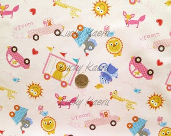 Dena Designs, Happi, Tossed Animals Pink Fabric - Half Yard