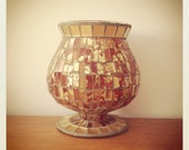 Red and Gold Glass Mosaic Candle Holder Luminary