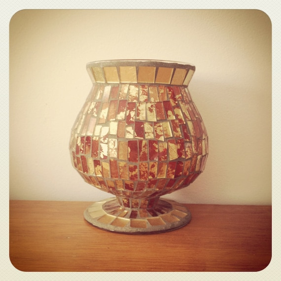 red and gold glass mosaic candle holder luminary. Black Bedroom Furniture Sets. Home Design Ideas