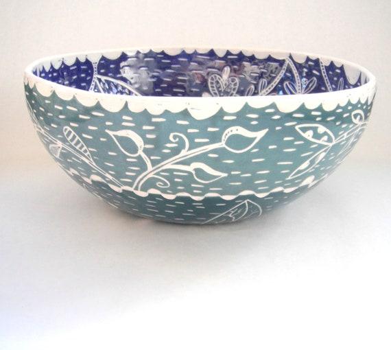 Blue Woodland Wildflower Bowl Large 12 inch Salad Serving Bowl