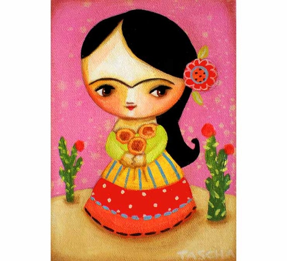 ORIGINAL Frida Kahlo with sunflowers and cactus one of a kind art acrylic painting by tascha