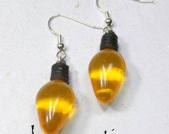 Christmas Light Earrings Yellow - Decorate Yourself for the Holidays