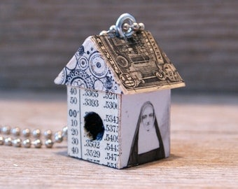 Funky Bigger Little BirdHouse House Necklace Charm Pendant Keychain - Like Nun Other - Art By Heather - Ready To Ship